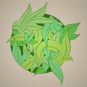 Vector stylized ornament in the shape of leaves, — Stockvektor