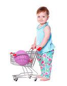 イースターエッグとショッピングのトロリーを保持赤ちゃん女の子 — ストック写真