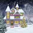 Cottage in the woods. New Year. Fairy Tale. Illustration. — Stock Photo #60718395