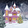 Christmas.Cottage . New Year. Fairy Tale. Illustration. — Stock Photo #60723655