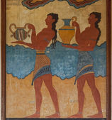 Archaeological site fresco from Palace of Minos at Knossos — Stock Photo