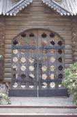 Carved wooden gate — Stock Photo
