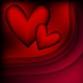 Dark black and red background with hearts — Stock Vector