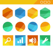 Colorful Flat Shapes With Icons — Stock Vector