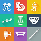 Vehicle Performance Parts Flat Icons Set — Stock Vector