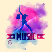 Rock star with guitar for musical background — Stock Vector
