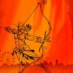 Lord Rama with bow arrow killimg Ravana — Stock Vector #53659179