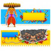 Ravan in Dussehra advertisment and promotion poster — Stock Vector