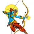 Lord Rama with bow arrow killimg Ravana — Stock Vector #53661299