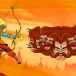Lord Rama with bow arrow killimg Ravana — Stock Vector #53661451