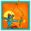 Lord Rama with bow arrow killimg Ravana — Stock Vector #53661587