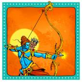 Lord Rama with bow arrow killimg Ravana — 图库矢量图片
