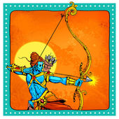 Lord Rama with bow arrow killimg Ravana — Stock Vector
