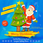 Santa Claus decorating Christmas tree — Stock Vector