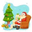 Santa Claus reading wish list for Christmas — Stock Vector #60062497