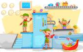 Elf making Christmas gifts in toy factory — Vector de stock