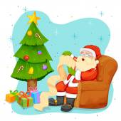 Santa Claus reading wish list for Christmas — Stock vektor