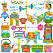 Kitsch art of India showing sale and promotion — Cтоковый вектор