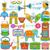 Kitsch art of India showing sale and promotion — 图库矢量图片