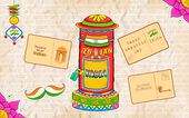 India kitsch style post box and letter — Stock Vector