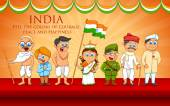 Kids in fancy dress of Indian freedom fighter — Stock Vector