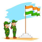 Kids saluting Indian flag — Stock Vector