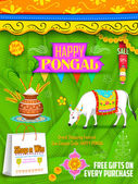 Happy Pongal greeting and shopping background — Vector de stock
