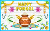 Happy Pongal greeting background — Stock Vector