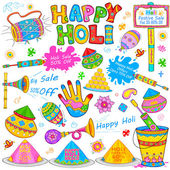 Holi element in Indian kitsch style — Stock Vector