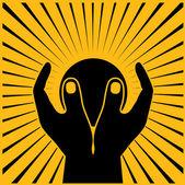 Planet in hands in sun beams — Stock Vector