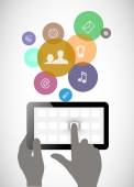 Tablet in his hands. Concept of communication in the network. — Stock Vector