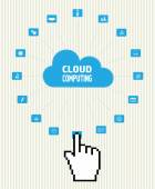 Cloud computing technology abstract scheme with cursor hand — Stock Vector