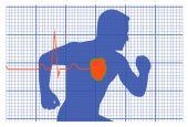 Running man symbol cardiovascular medicine — Stock Vector