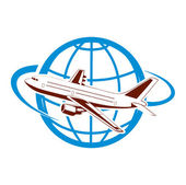 Plane on the background of the planet symbol of air transportation — Stock Vector
