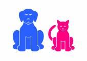 Cane e gatto simboli di colore di animali domestici — Vettoriale Stock
