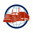 Truck symbol road haulage on a background of a planet — Stock Vector #55627479
