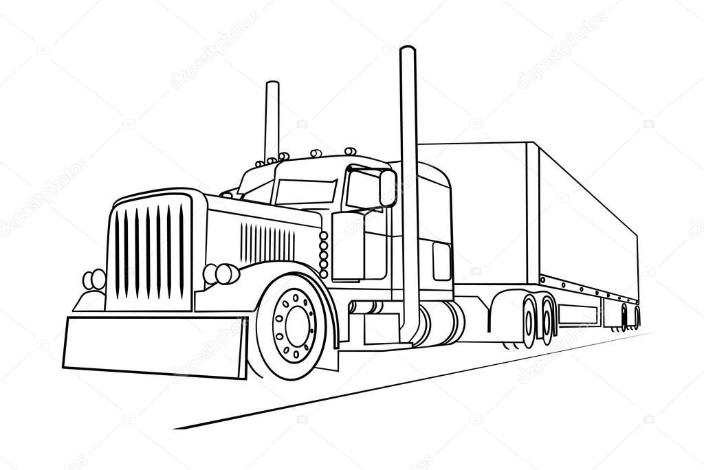 Stock Illustration Drawing Of The Truck Transporting on peterbilt show trucks