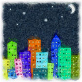 Drawing paint on paper the abstract night city — Cтоковый вектор