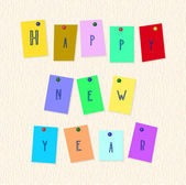 Inscription happy New Year on color slices of paper — Stock Vector