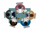 People  at  table the top view — Stock Vector