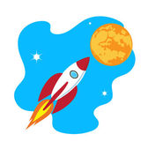 Rocket soars into the sky color illustration — Stock Vector