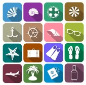 Icons tourism and rest in flat style — Stock Vector