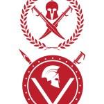 Icon a Spartan helmet in a laurel wreath — Stock Vector #72790461