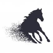 Running horse in the grunge style — Stock Vector
