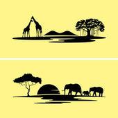 Africa monochrome landscape — Stock Vector