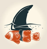 Little fish with great idea — Vector de stock