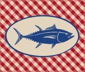 Vintage illustration of tuna fish — Stock Vector