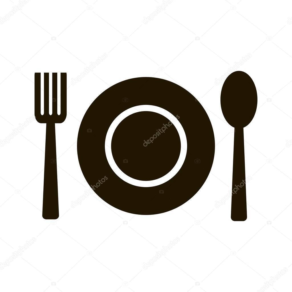 Tenedor cuchara y plato icono de vectores vector de for Plato tenedor y cuchillo
