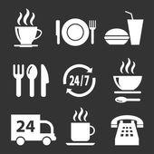 Ensemble d'icônes vectorielles avec de la nourriture sur un fond sombre — Vecteur