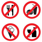 Set of icons forbidding food — Stock Vector